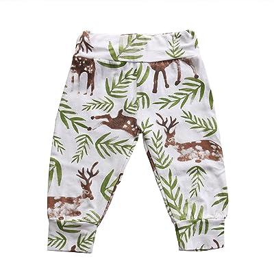 2 Styles Baby Boys Girls Deer Pattern Leaf Print Harem Pants Leggings Long Pants