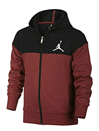 Amazon Com Nike Air Jordan Quilted Hooded Sweatshirt Youth Red