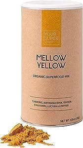 Your Super Mellow Yellow Superfood Mix - Plant Based Stress Reduction, Anti-inflammatory, Essential Vitamins, Antioxidants, Non-GMO, Organic Turmeric, Ashwagandha, Lucuma - 7.05 Ounces, 40 Servings