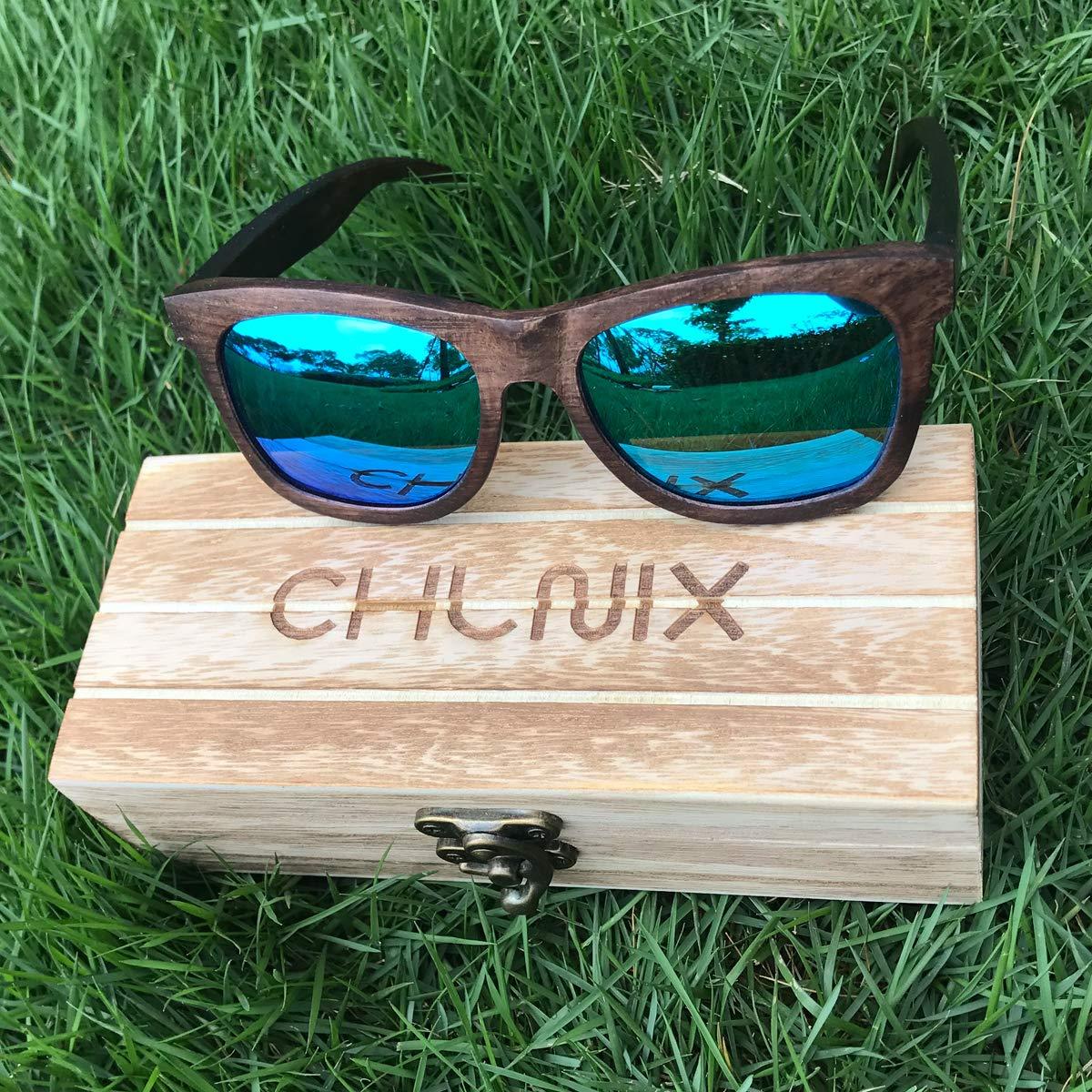 CHLNIX Occhiali da sole da uomo in legno Occhiali da sole retro polarizzati UV400 Vintage con scatola di legno classica per sport allaria aperta