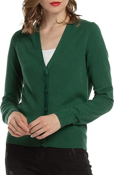 Woolen Bloom Cardigan Damen Strickjacke Kurz V Ausschnitt Langarm Cardigans mit Knöpfe Elegant Outwear Top für Herbst Winter