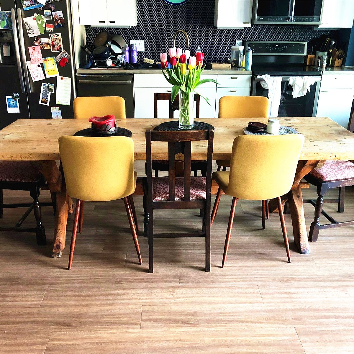 Coavas Set of 4 Dining Chairs Fabric Cushion Kitchen Side Chairs with Sturdy Metal Legs for Dining Room, Yellow by Coavas (Image #5)