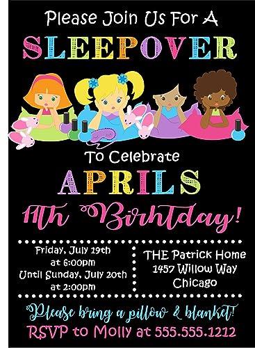Amazon Com Girls Sleepover Birthday Party Invitations Handmade