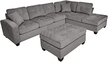 Homelegance Emilio Fabric Sectional Sofa and Ottoman Set, Taupe