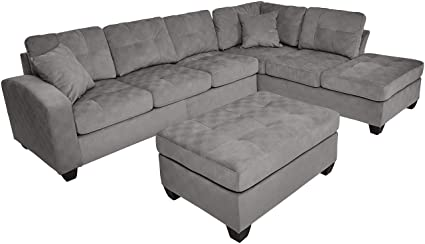 Amazon.com: Homelegance 2 Piece Sectional Sofa Polyester With ...