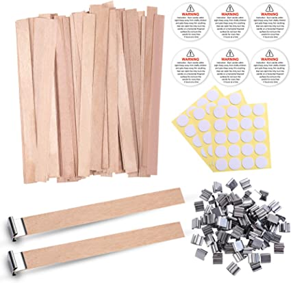 Smokeless Wooden Natural Candle Cores with Candle Warning Stickers and Candle Wick Stickers for DIY Candle Making Craft 5.1 X 0.5 Inch 60 PCS Wood Candle Wicks with Iron Stand