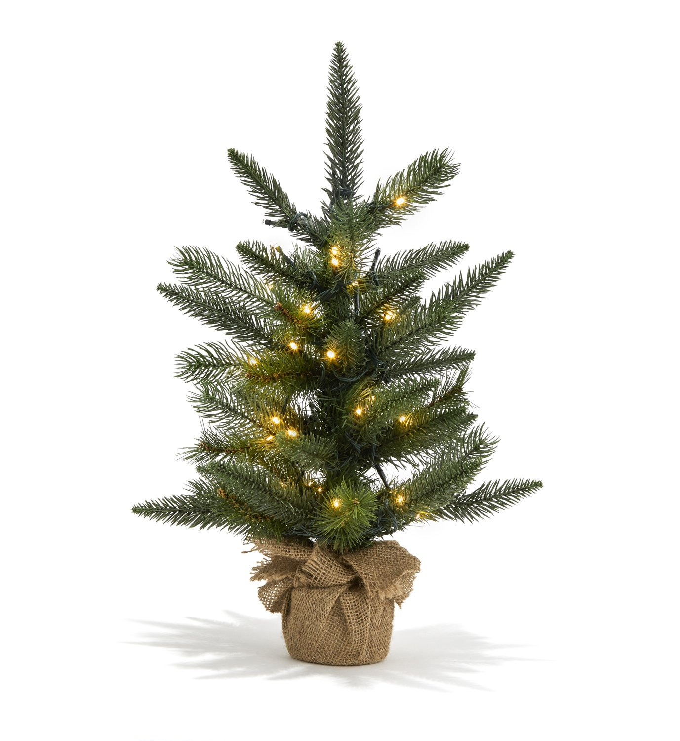 LampLust 18'' Pre-Lit Christmas Pine Tree with Warm White LEDs | Indoor Use, Convertible Power Options, Battery Box and Plug Included - for Windowsills, Mantle Display and Table Tops