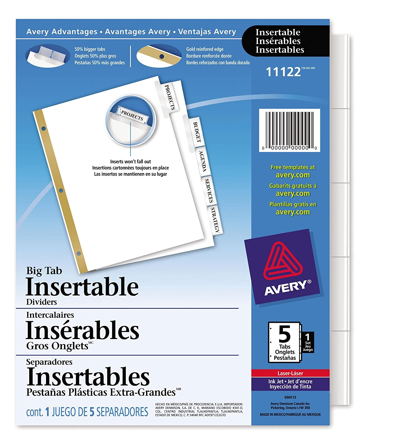 Avery Big Tab Insertable Dividers for Laser and Inkjet Printers, 5 tabs, Clear, 1 Set, (11122) 67933111227