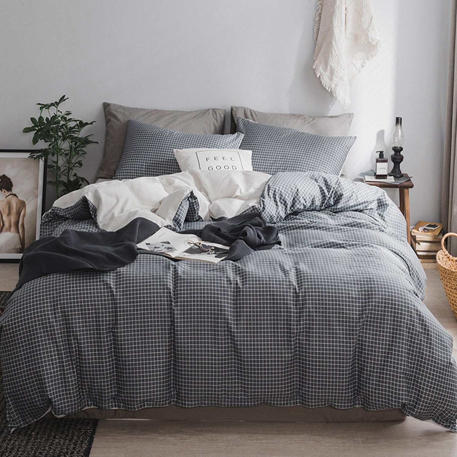 MooMee Duvet Cover Set 100% Cotton 3 Piece Home Bedding Set Soft Breathable Wrinkle Resistant Grey White Reversible Queen