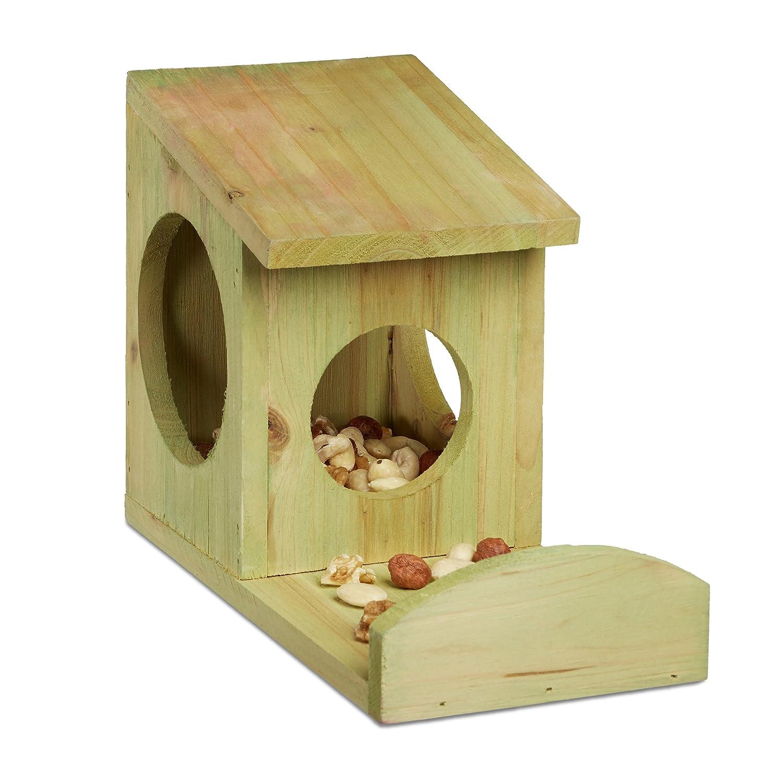 Relaxdays Eichhörnchen Futterhaus zum Hängen, Aus Holz, Wetterfest, HBT: ca. 17,5 x 12 x 25 cm, grün grün 10020743