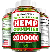 MAXIBEARS Hemp Gummies 2,000,000 - Promotes Relaxation & Healthy Sleep - Stress, Insomnia & Anxiety Relief - Made in USA - Tasty Herbal Gummies - Premium Extract - Mood & Immune Support