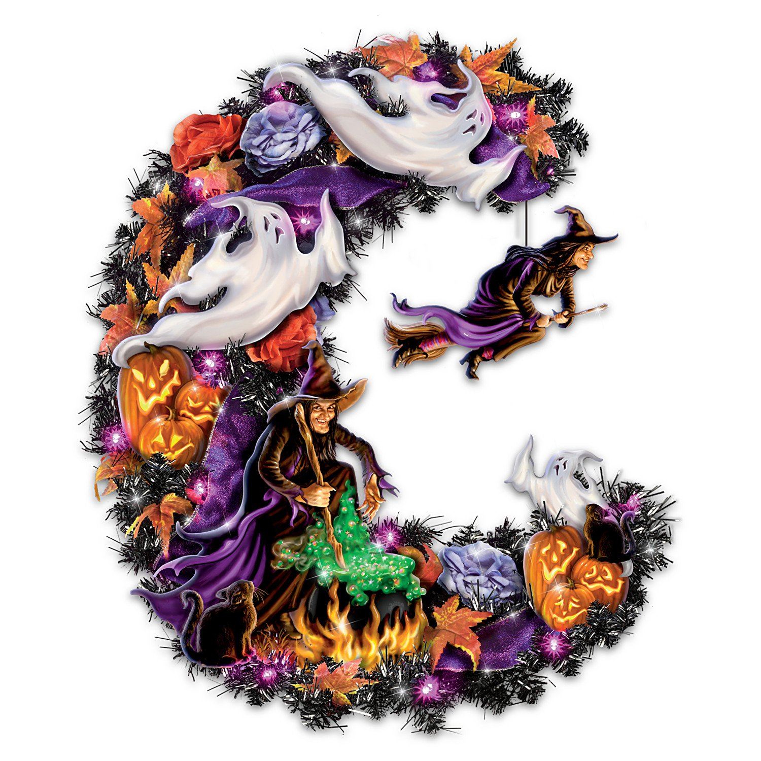 Best Witches Light Up Halloween Wreath by The Bradford Exchange 01-21155-001