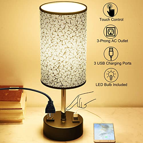 Touch Control USB Table Lamp, Dreamholder 3-Way Dimmable Bedside Desk Lamp with 3 Fast USB Charging Ports and One Power Outlet, Nightstand Lamp for Bedroom Living Room, Dimmable 6W LED Bulb Included