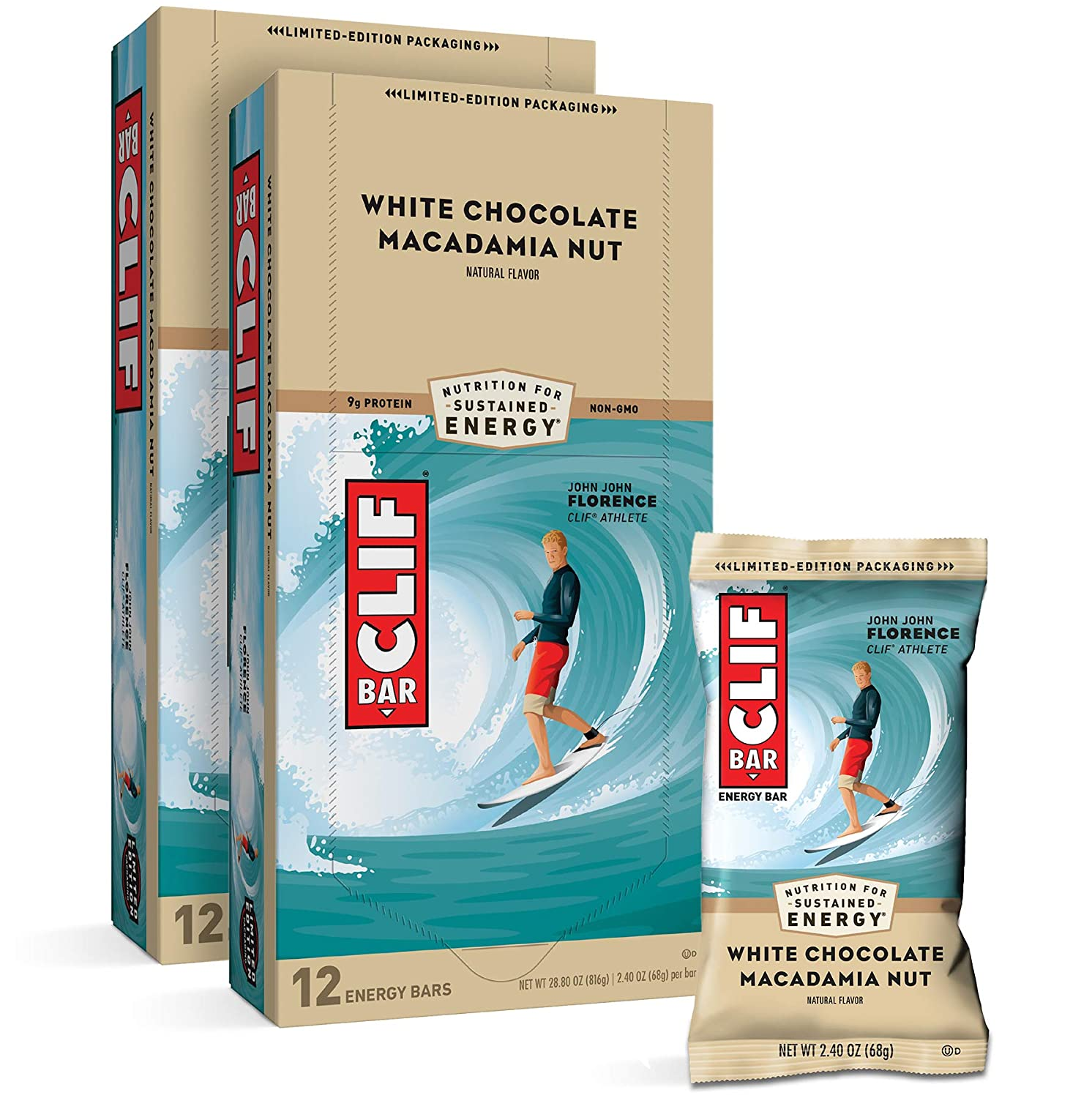 CLIF BARS - Energy Bars - White Chocolate Macadamia Nut Flavor - Made with Organic Oats - Plant Based Food - Vegetarian - Kosher (2.4 Ounce Protein Bars, 24 Count)