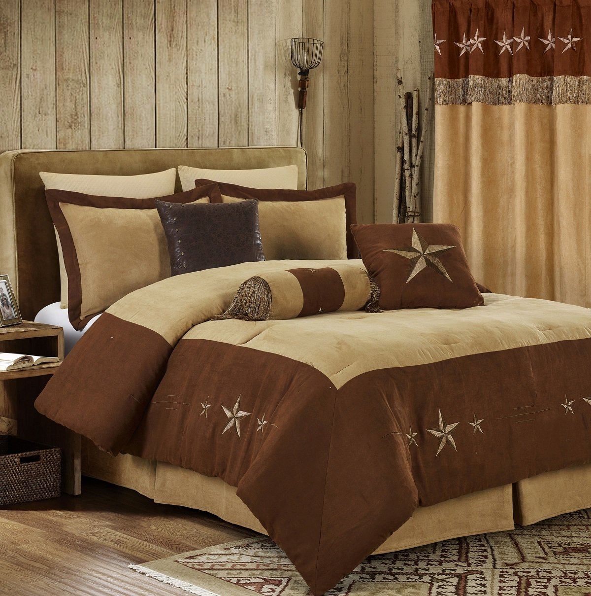 Chezmoi Collection 7 Pieces Western Star Embroidery Design Microsuede Bedding Oversize Comforter Set Brown/Coffee