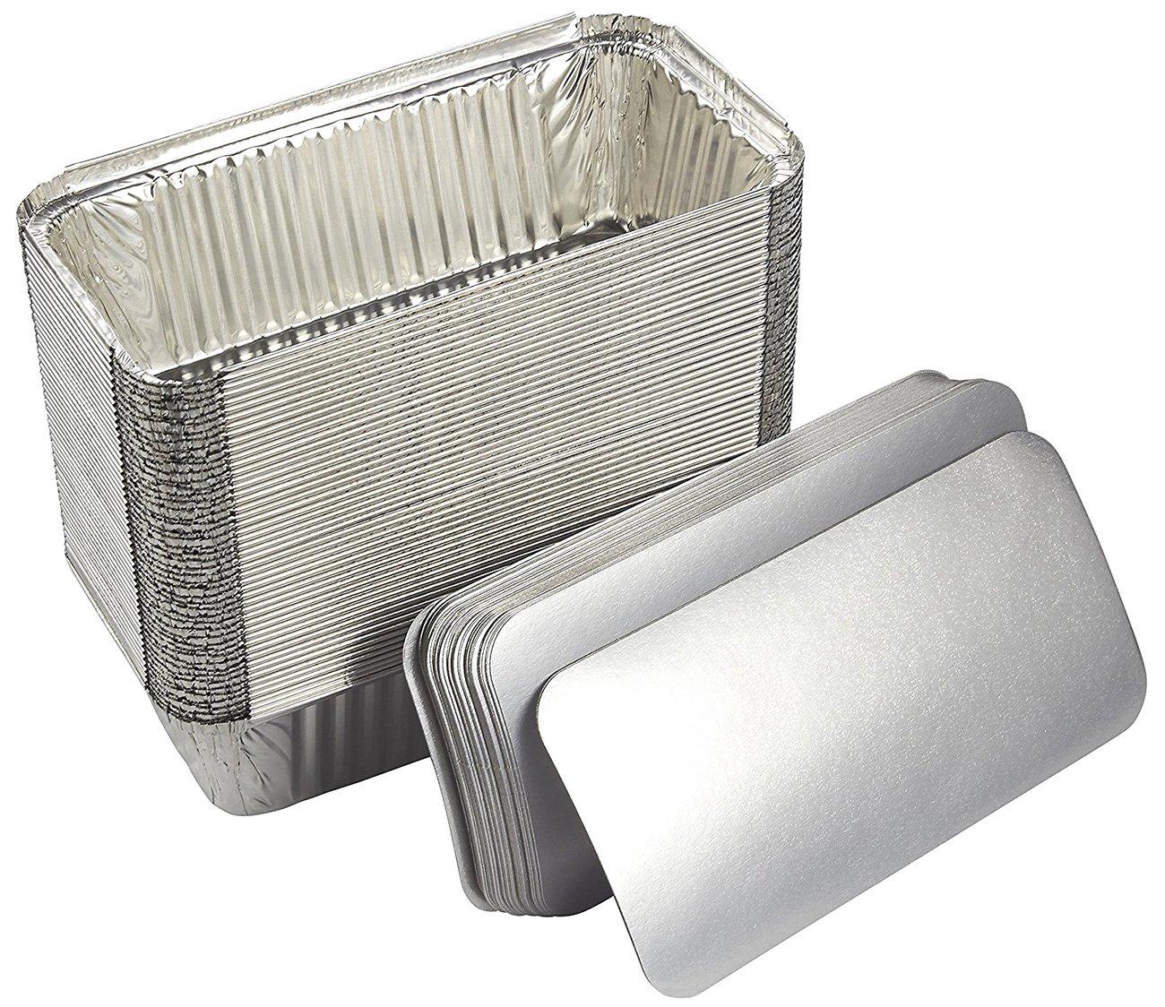 Papel de aluminio sartenes - juego de molde de profundidad tapas desechables de vapor Sartenes de mesa con soporte de junta para hornear, asar, broiling, ...