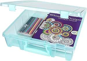 ArtBin Super Satchel 1-Compartment Box- Plastic Art and Craft Supply Storage Container- Aqua Mist, 6955AA