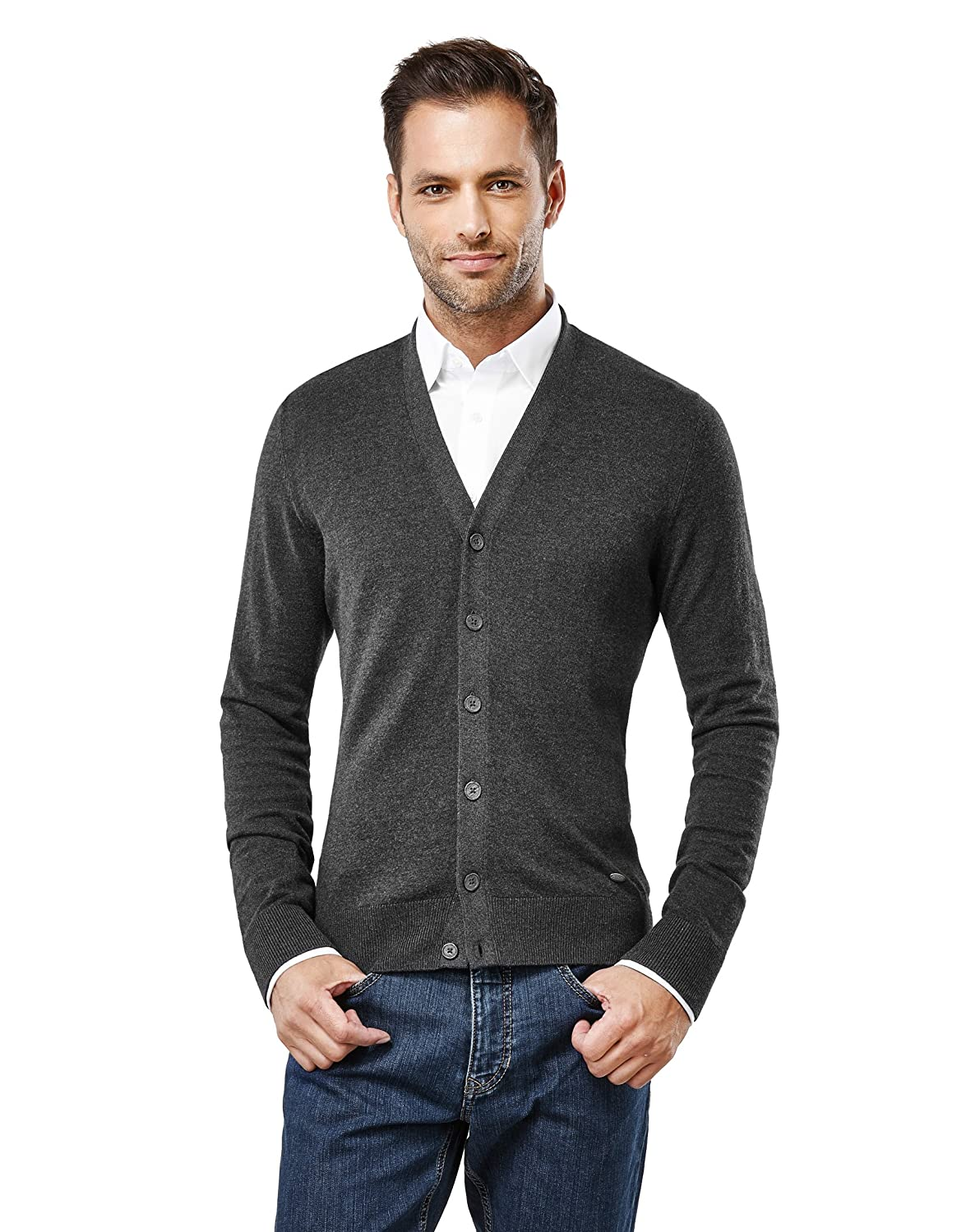 Vincenzo Boretti Men's Pull-Over Knitted Long-Sleeve Jumper Slim fit v-Neck Warm Lightweight Soft Cotton-Blend Plain Colour Elegant Style Business Work Everyday Casual