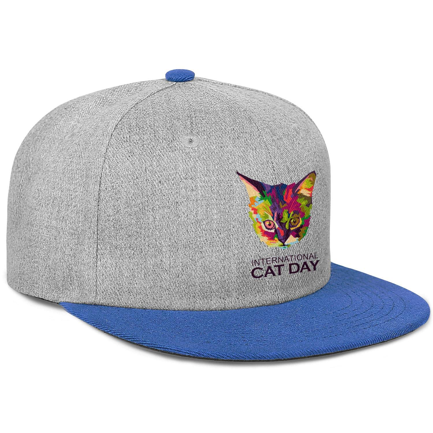International Cat Day Cat Head Mens Womens Wool Trucker Cap Adjustable Snapback Dad Hat