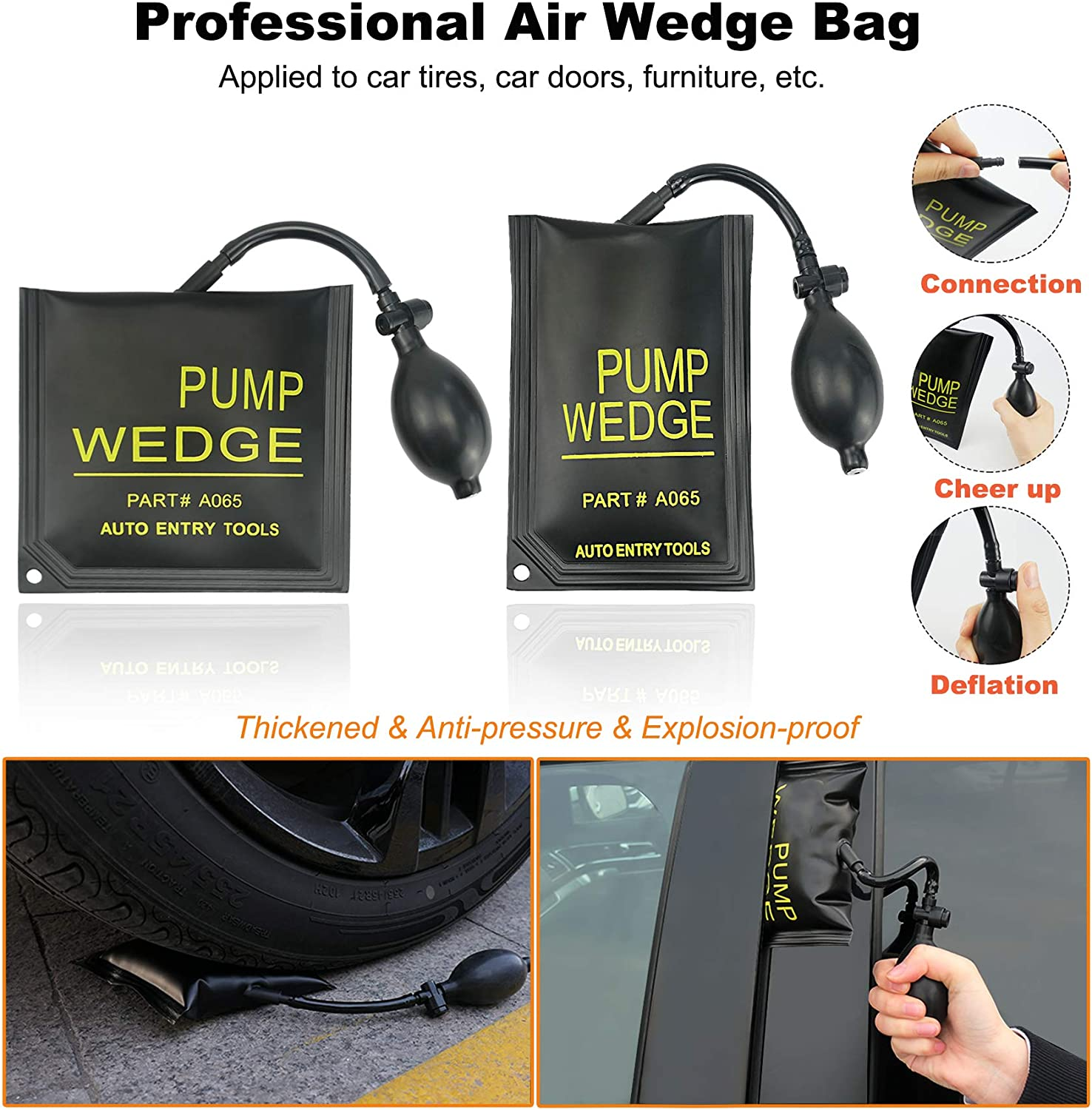 Car Lockout Kit with Air Wedge Pump Non Marring Wedge Qnbes 13Pcs Professional Car Tool Kit Easy Entry Long Reach Grabber Pulling Cable and Carrying Storage Bag