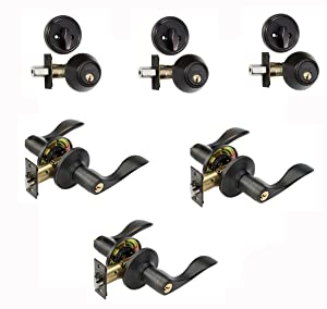 Dynasty Hardware CP-HER-12P, Heritage Front Door Entry Lever Lockset and Single Cylinder Deadbolt Combination Set, Aged Oil Rubbed Bronze - (3 PACK) - Keyed Alike