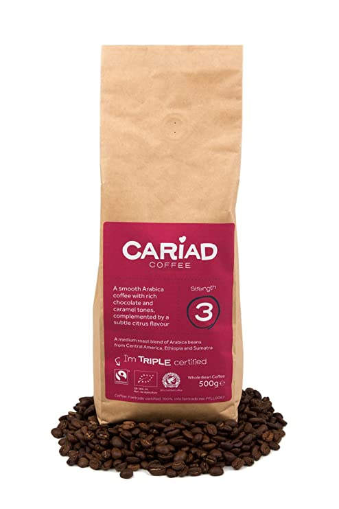 Coffee Beans 500g by Cariad Coffee, Organic, Fairtrade, RFA 100% Arabica  Medium Roast from Central America, Ethiopia and Sumatra  Amazon.co.uk   Grocery e9d0c506274
