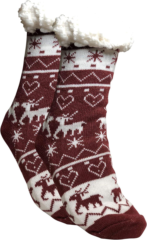 ZAKASA Kuschelsocken F/ür Damen mit Anti Rutsch Sohle Frauen M/ädchen Stoppersocken H/üttensocken Warme Hausschuhe Weihnachten Socken Wintersocken