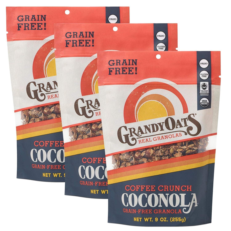GrandyOats Coffee Crunch Coconola Gluten Free Granola - Certified Organic, Non-GMO, Grain Free, Paleo Friendly, Low Carb and Low Sugar, 9oz Bags, Bulk Pack of 3