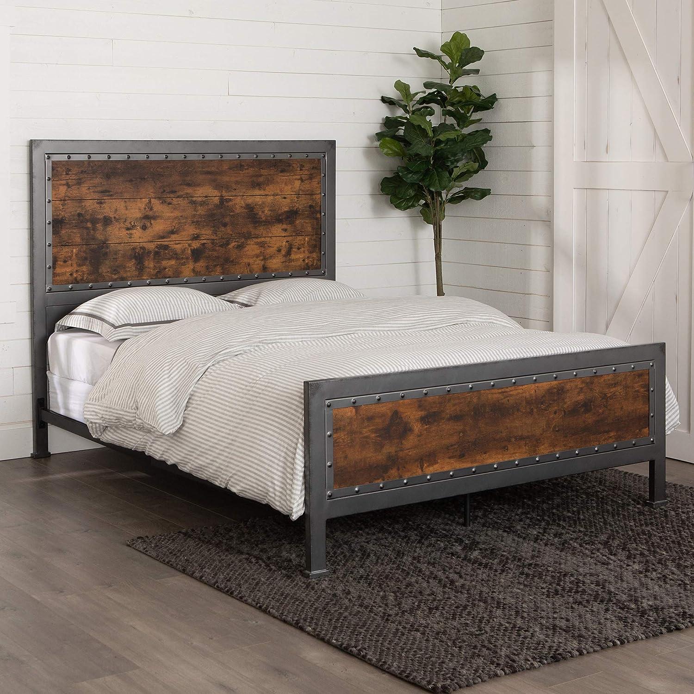 WE Furniture AZQAWRW Rustic Farmhouse Wood and Metal Queen Metal Bed  Headboard Bedroom, Queen, Bronze