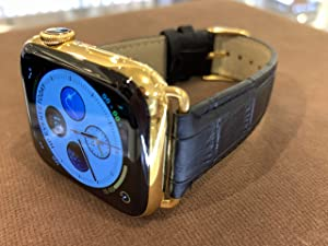 Custom 24K Gold Plated 44MM iWatch Series 4 Stainless Steel with Black Alligator Leather Band LTE+GPS US Version