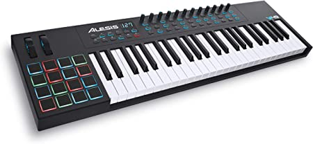side facing alesis vi49 beginner midi keyboard