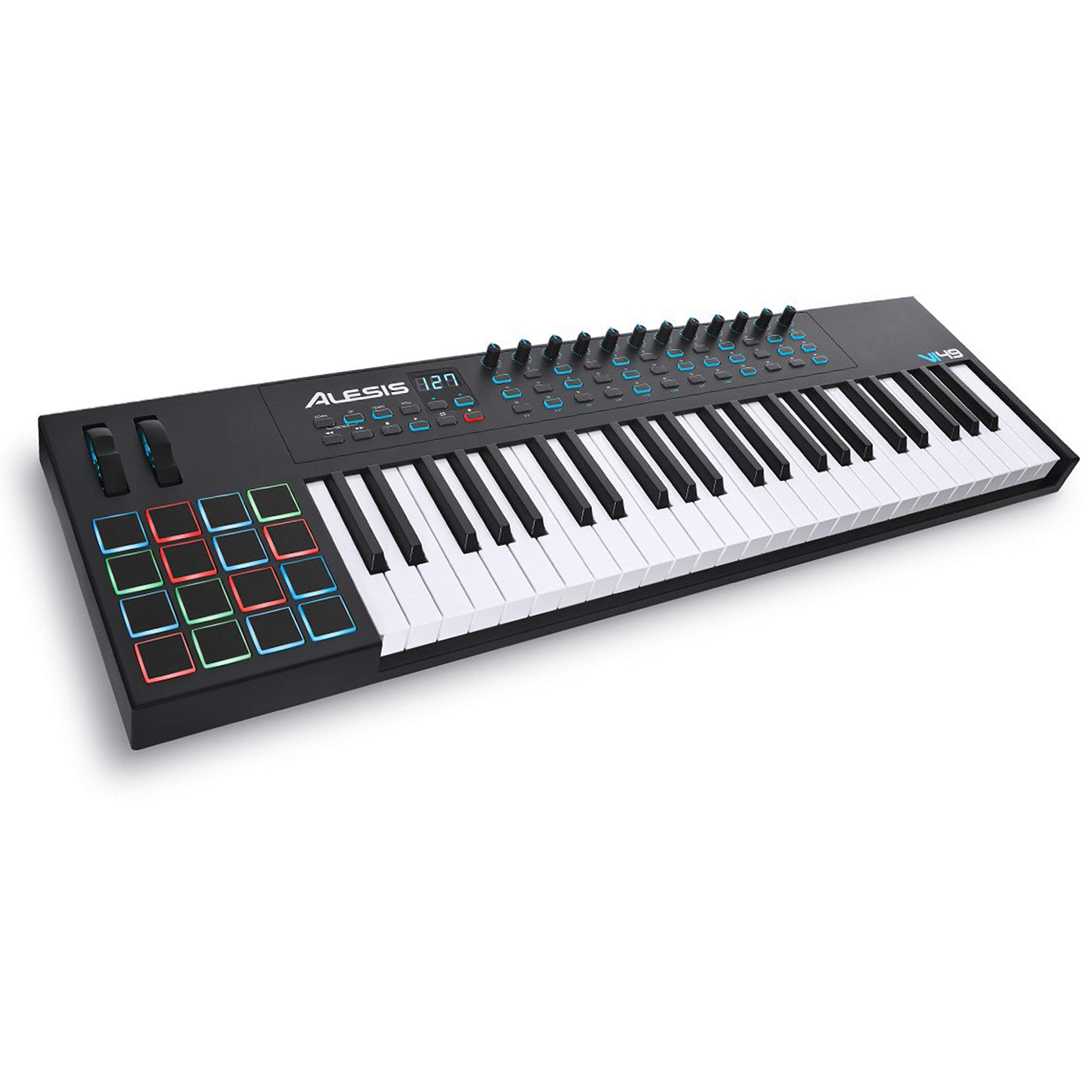 Alesis VI49 | 49-Key USB MIDI Keyboard Controller with 16 Pads, 16 Assignable Knobs, 48 Buttons and 5-Pin MIDI Out Plus Production Software Included by Alesis
