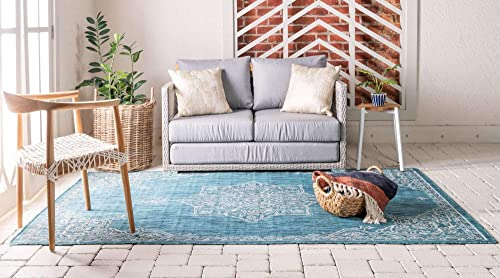 Unique Loom Outdoor Traditional Collection Classic Medallion Transitional Indoor and Outdoor Flatweave Teal Area Rug 9 0 x 12 0