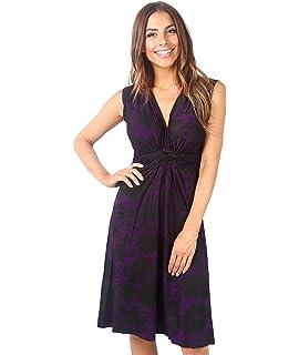 c89918c9f7a Krisp Womens Casual Sleeveless Knot Low Cut V Neck Floral Printed Tank Dress