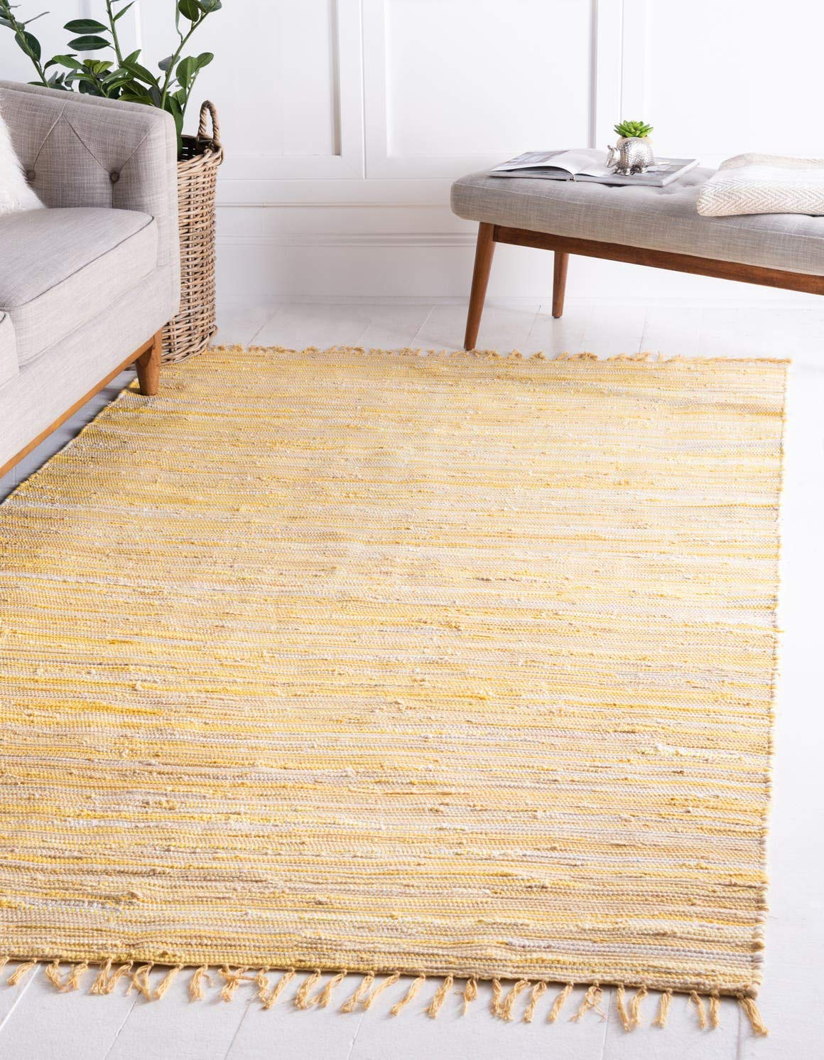 Unique Loom Chindi Cotton Collection Hand Woven Natural Fibers Yellow Area Rug 5 0 x 8 0