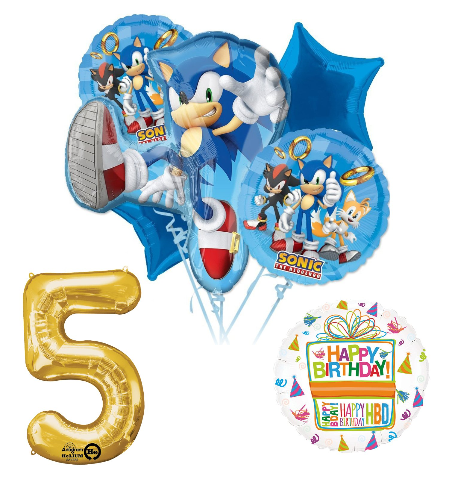 Mayflower Products Sonic The Hedgehog 5th Birthday Party Supplies and Balloon Decorations