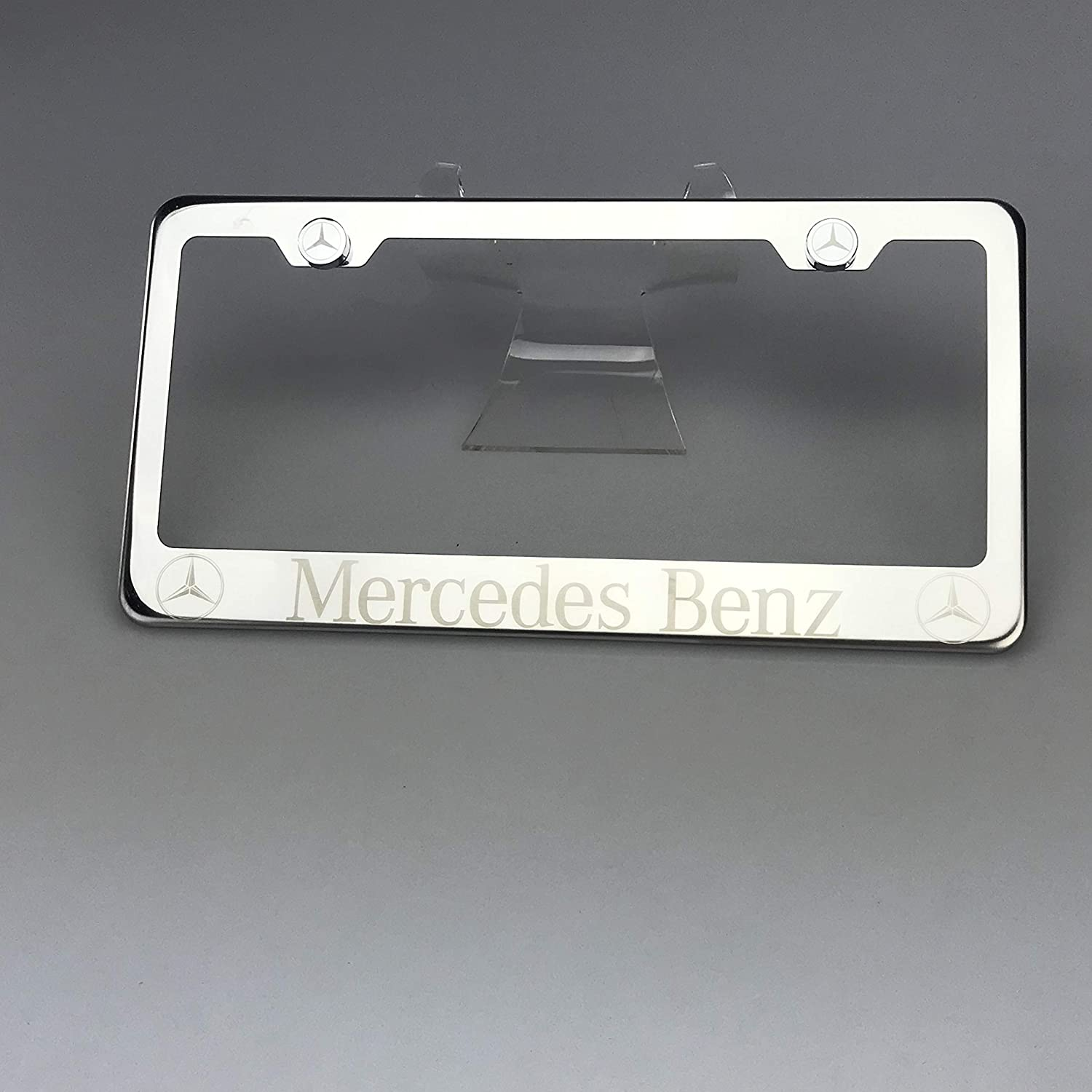 Mercedes AMG Red On Black Stainless Steel License Plate Frame W// Bolt Caps