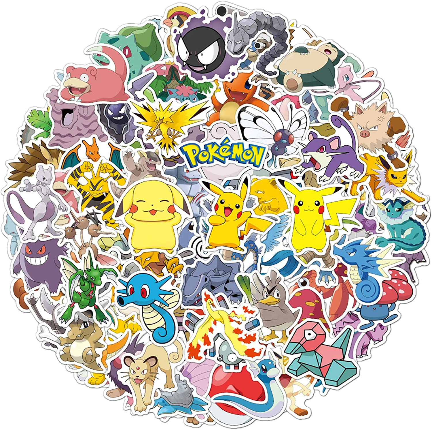 100 Pcs Pokemon Anime Stickers Cute Cartoon Monsters Decals for Water Bottle Hydro Flask Laptop Luggage Car Bike Bicycle Waterproof Vinyl Stickers Pack
