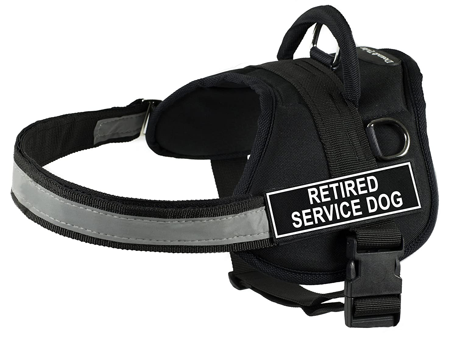 Dean & Tyler 18-Inch to 21-Inch Pet Harness, XX-Small, Retired Service Dog, Black