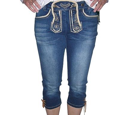 Trachten - Jeans   Capri mit Lederhosenoptik Fb. jeans blue denim (34) b92fbea136