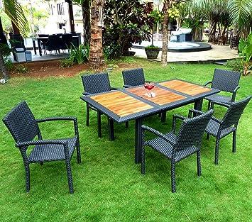 Salon de Jardin 6 Places en Teck et Poly rotin