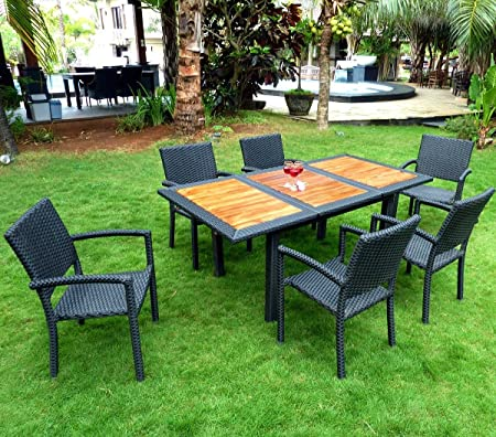 Salon De Jardin 6 Places En Teck Et Poly Rotin Amazon Fr Cuisine Maison