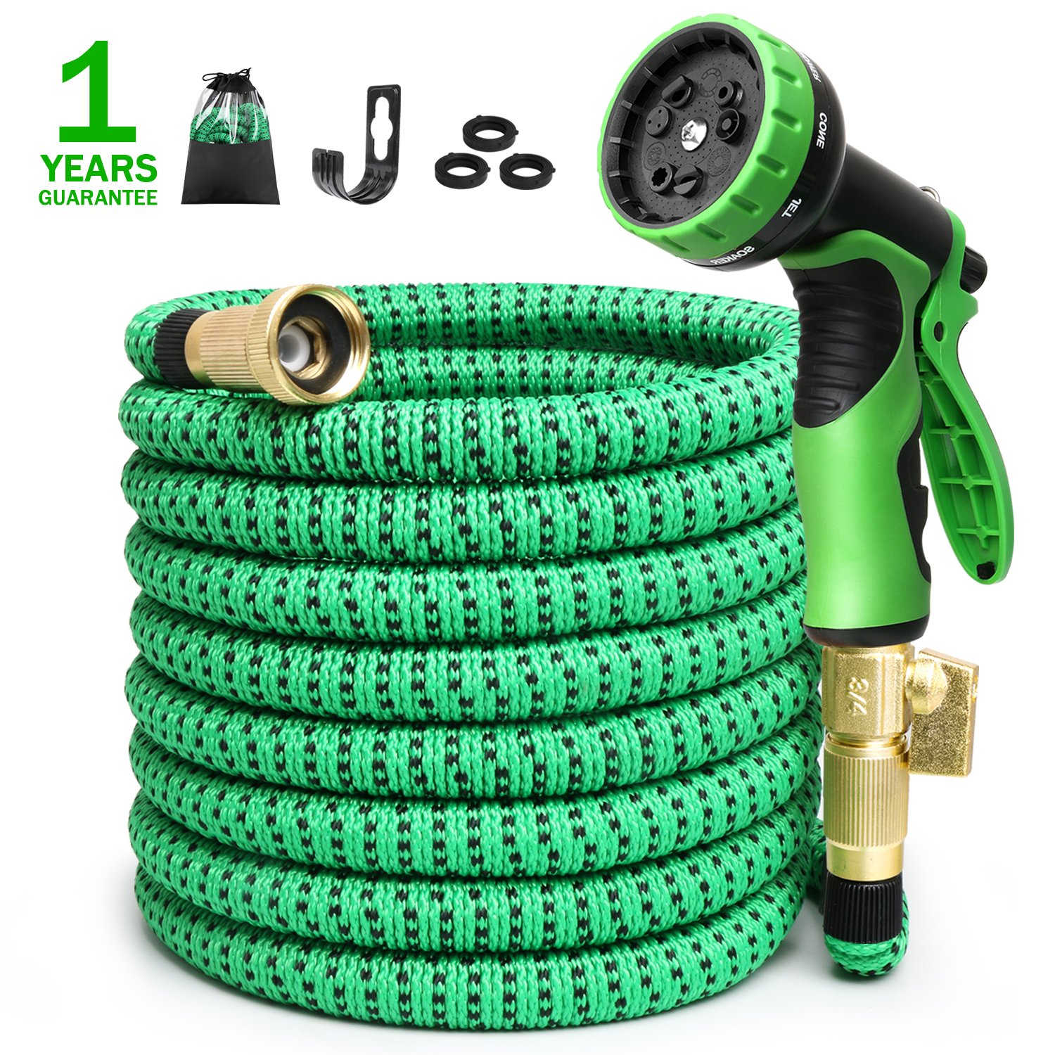 Expandable Garden Hose 50ft Expanding Water Hose, 50' Flexible Lightweight Gardening Yard Hose with 3/4 Inch 100% Solid Brass Fittings 9 Function Hose Nozzle, Outdoor Cloth Hoses(1 Year Guarantee) by NAYAHOSE