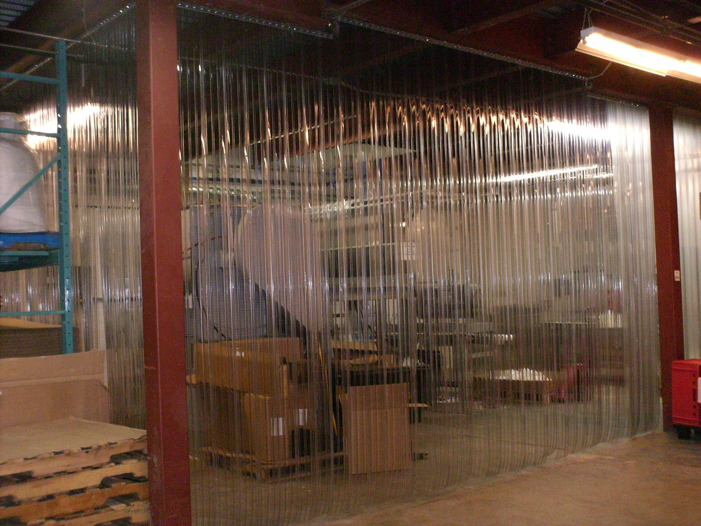 strips with 50/% overlap ANTI SCRATCH 8 in width X 90 in. 7ft 6 in height Stainless Steel Hardware RIBBED 60 in. 5 ft Strip-Curtains.com: Strip Door Curtain