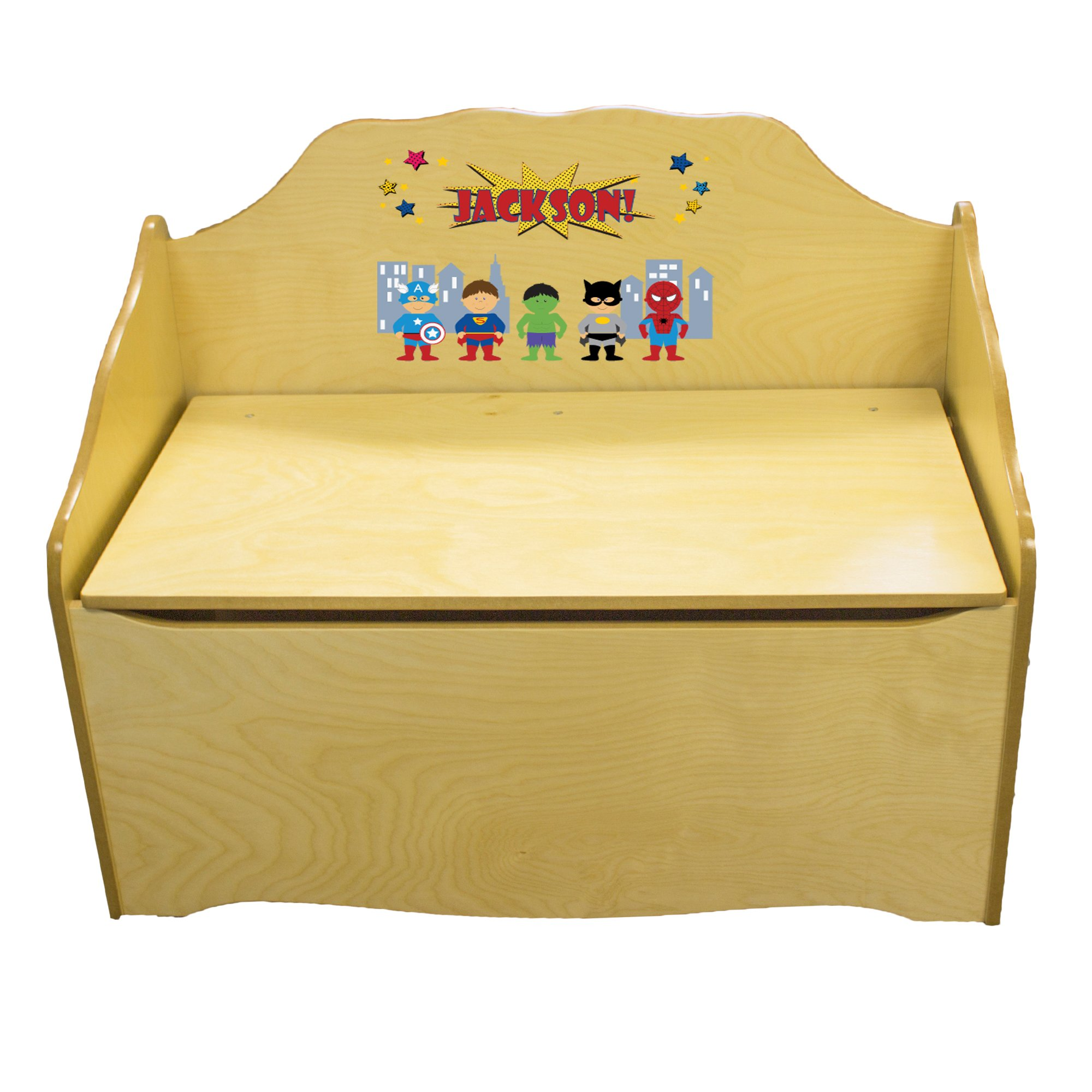 Personalized Boys Super Hero Childrens Natural Wooden Toy Chest