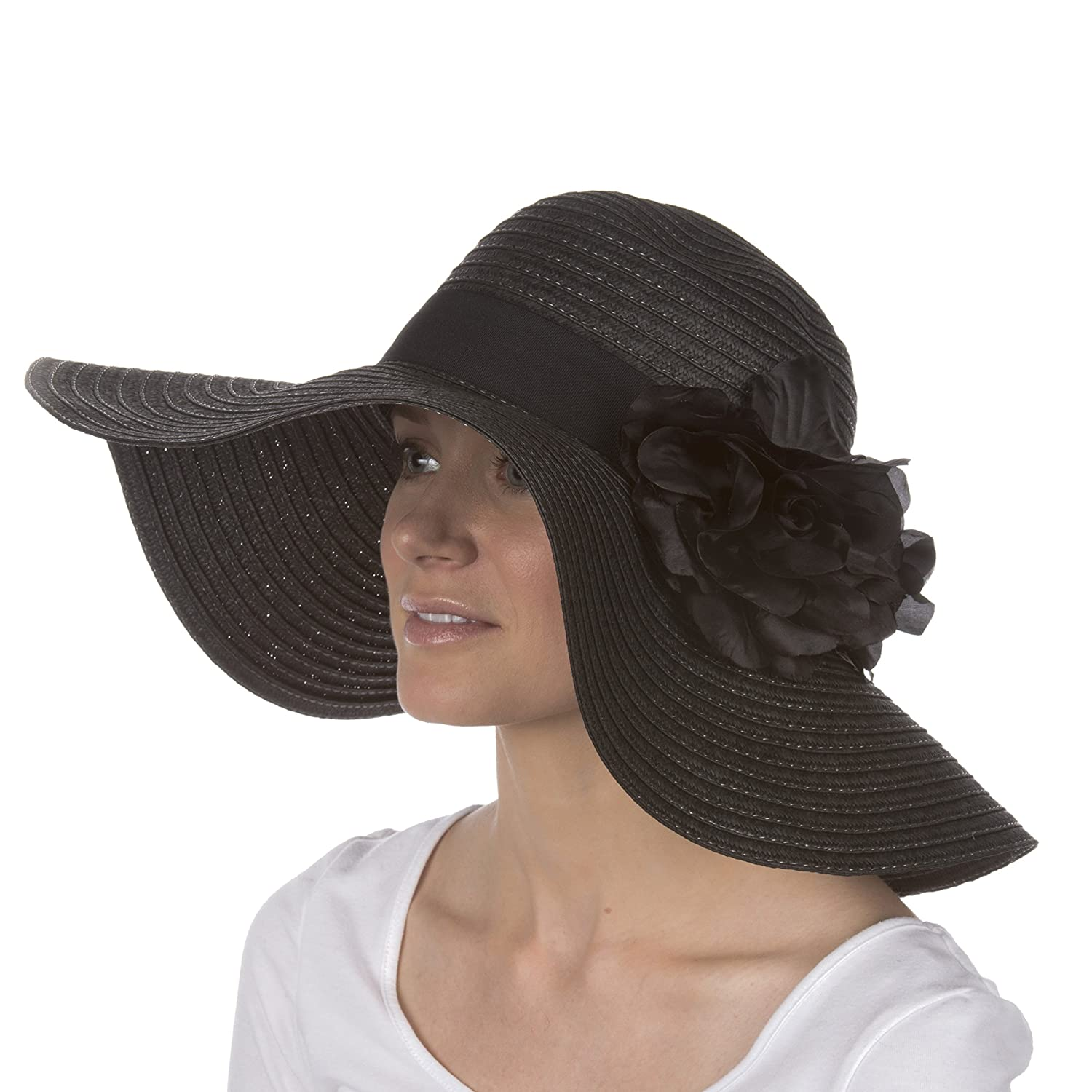 52298af862c79 Sakkas 6641LF Daisy UPF 50+ 100% Paper Straw Flower Accent Wide Brim Floppy  Hat - Black- One Size at Amazon Women's Clothing store: Sun Hats