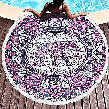 JESSIEKERVIN YY3 Toalla de Playa Elefante Redondo Microfibra Borla Franja Estera de Yoga Tapiz Absorbente de