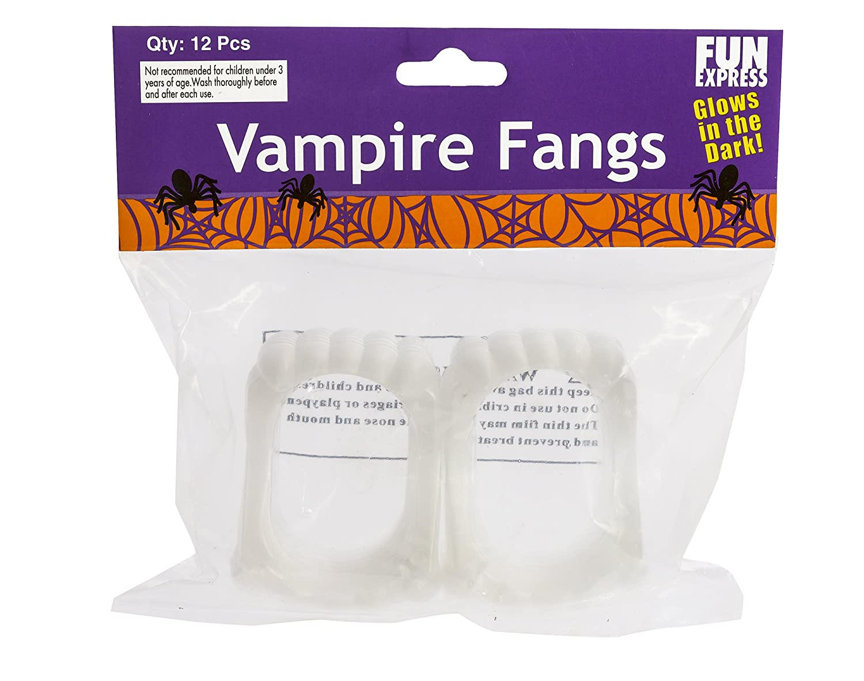 Fun Express Glow-in-the-Dark Vampire Fangs, 5-Pack of 72