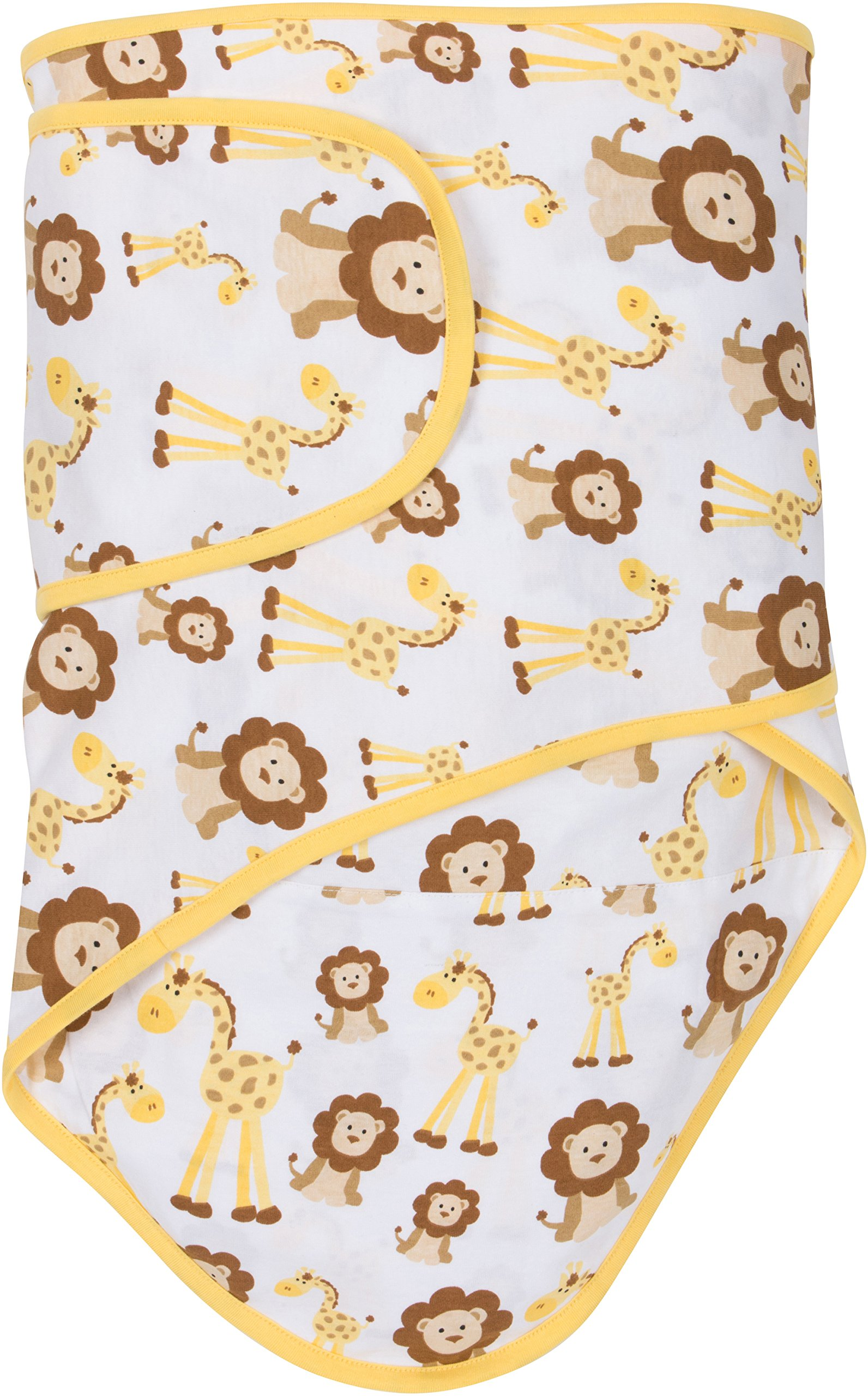 Miracle Blanket Swaddle - Giraffes & Lions with Butter Yellow Trim