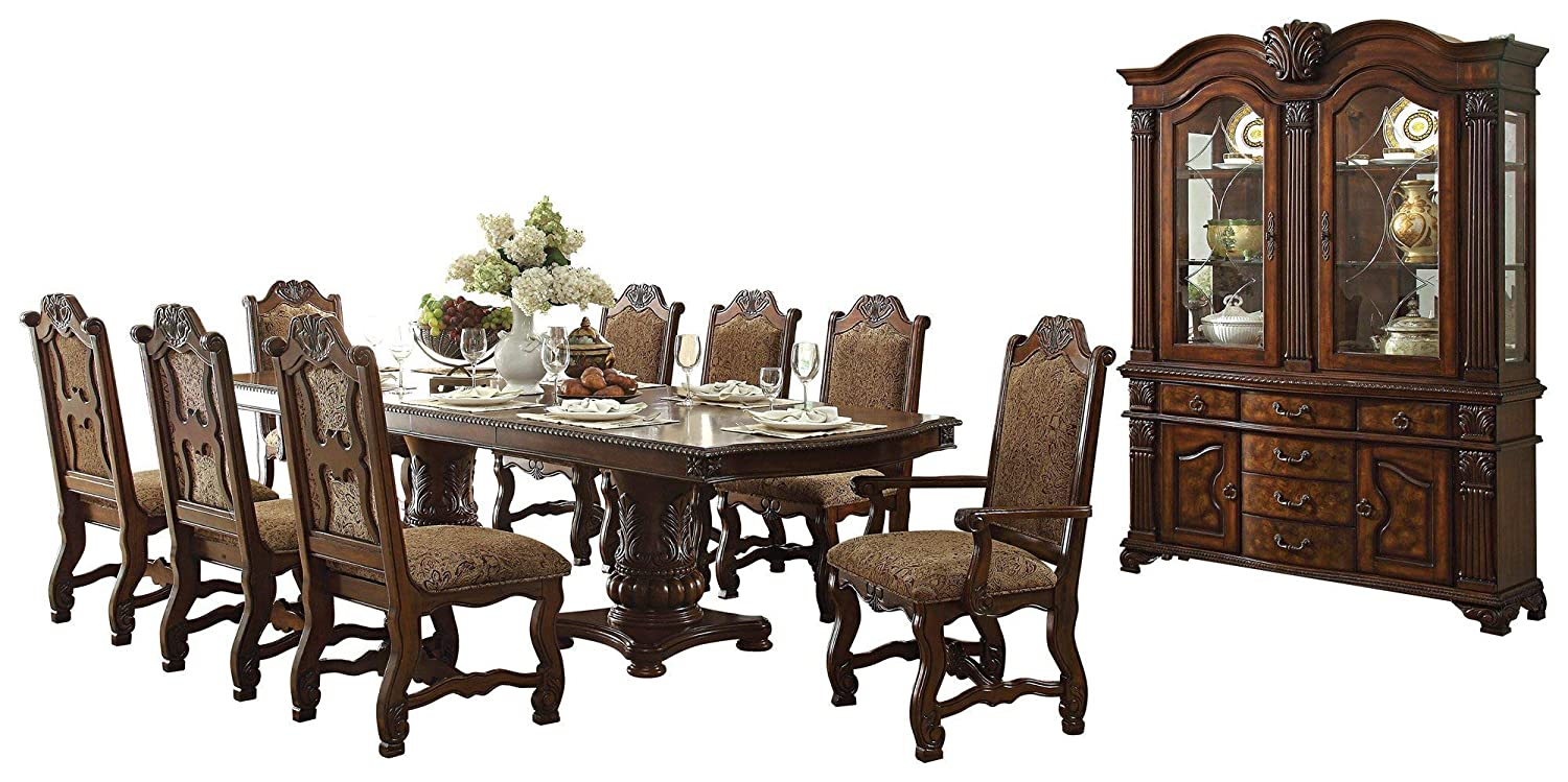 Timmons European Estate 10PC Dinning Set Table, 2 Arm, 6 Side Chair, Buffet & Hutch in Rich Cherry